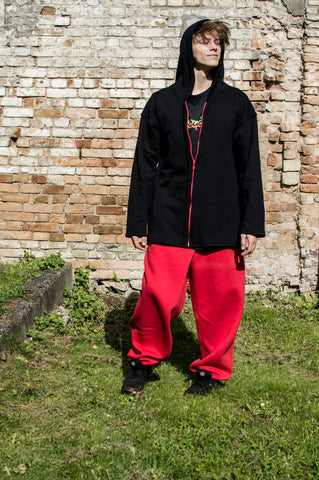 BLACK LONG HOODIE WITH RED POCKETS