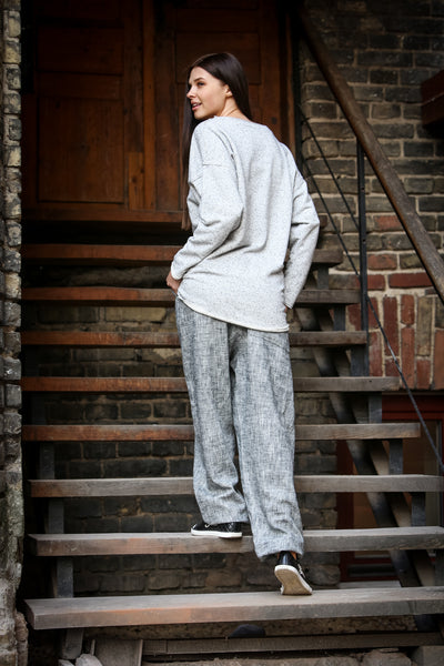 Gray Linen&Cotton Pants