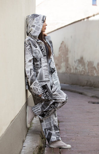 LIGHT NEWSPAPER PRINT JACKET