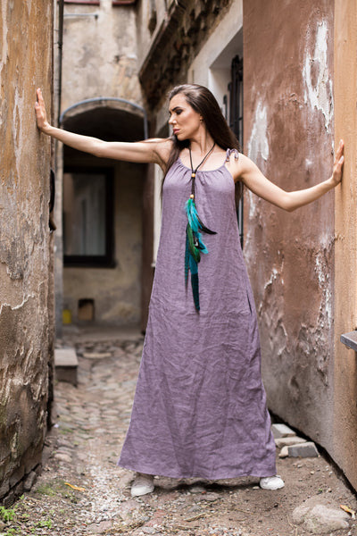 Deep purple linen dress