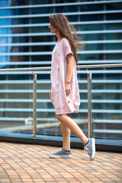DUSTY PINK LINEN DRESS