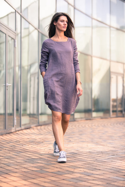 PURPLE LINEN DRESS