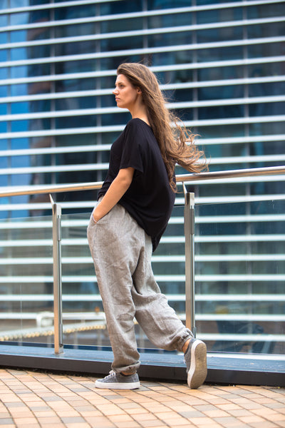 BAGGY STRIPED LINEN PANTS