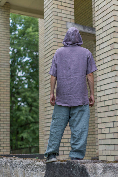 MEN'S LIGHT PURPLE LINEN HOODIE