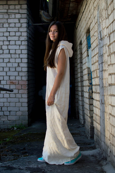 WHITE LINEN WATERFALL DRESS