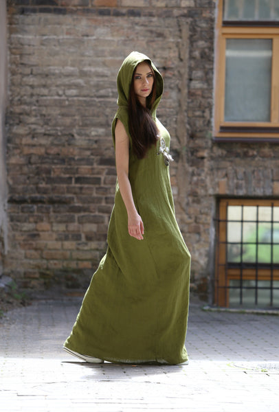 MOSS GREEN WATERFALL LINEN DRESS
