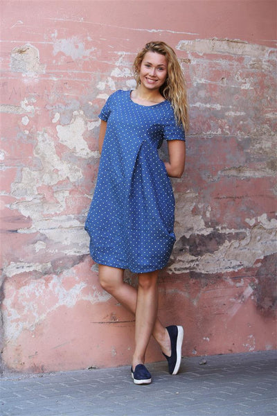 POLKA DOT BLUE LINEN DRESS