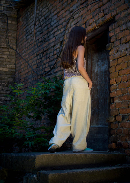 LIGHT SAND LINEN PANTS