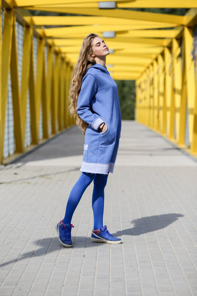 DEEP BLUE&LIGHT GRAY SPORT DRESS