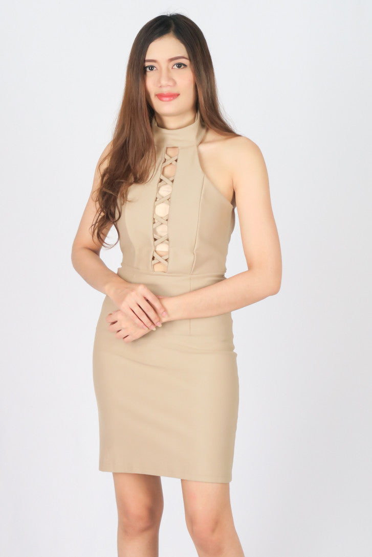 เดรสเข้ารูป - Sleeveless Choker Bodycon Midi Dress