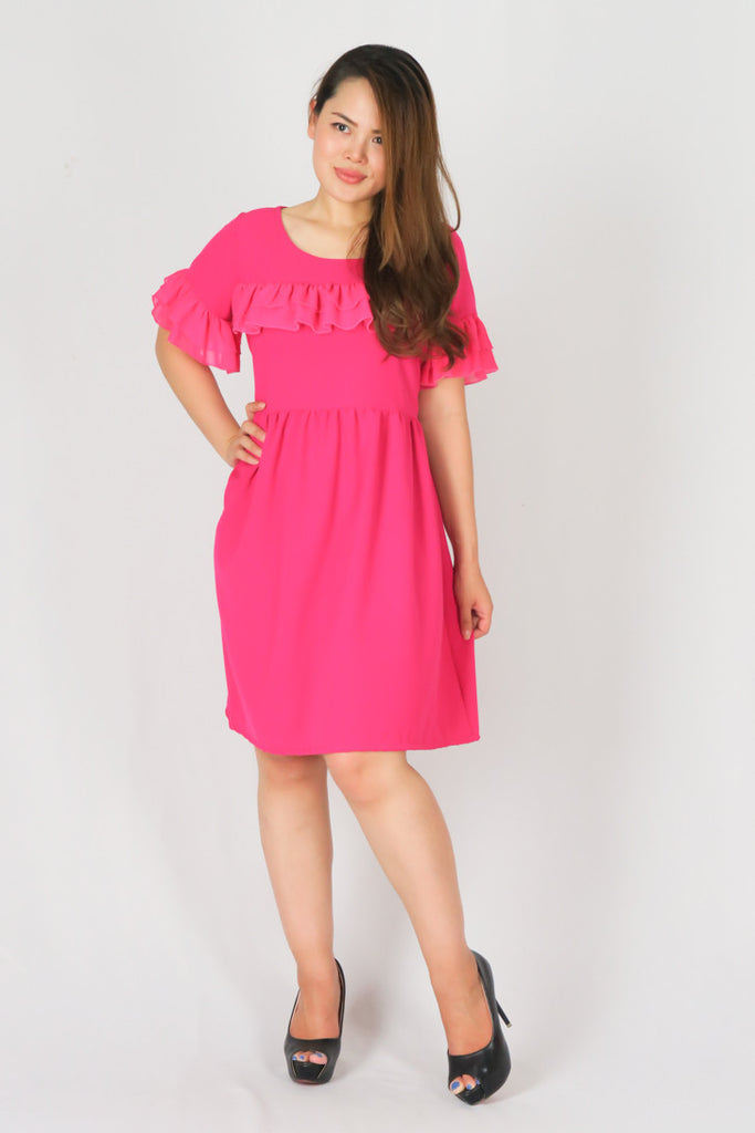 Circular Cape Sleeve Chiffon Sheath Dress