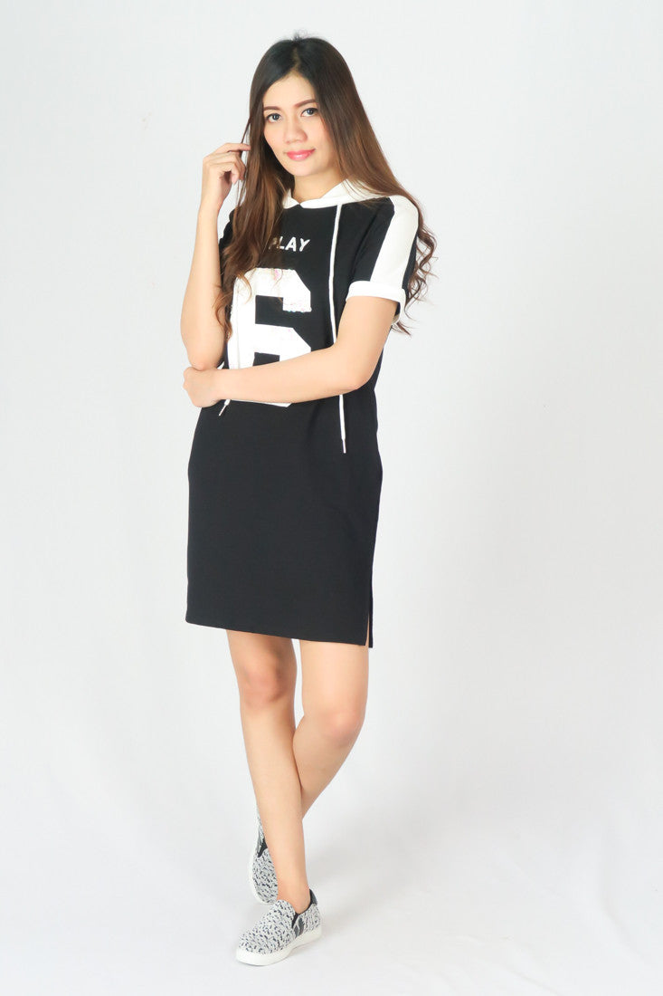 Hooded Soft Cotton Mini Dress