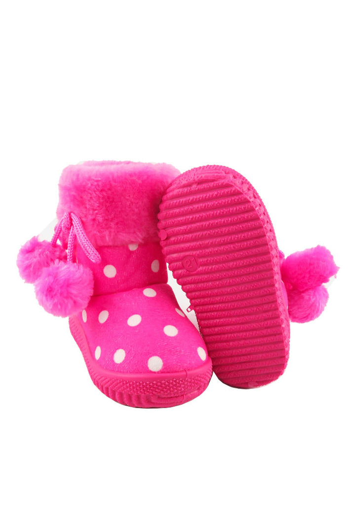 Girls Pokla Dot Insulated Fur Lining Snow Boots