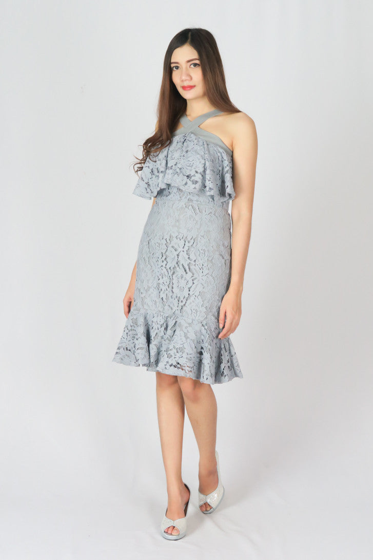 Bodycon Lace Cocktail Midi Dress