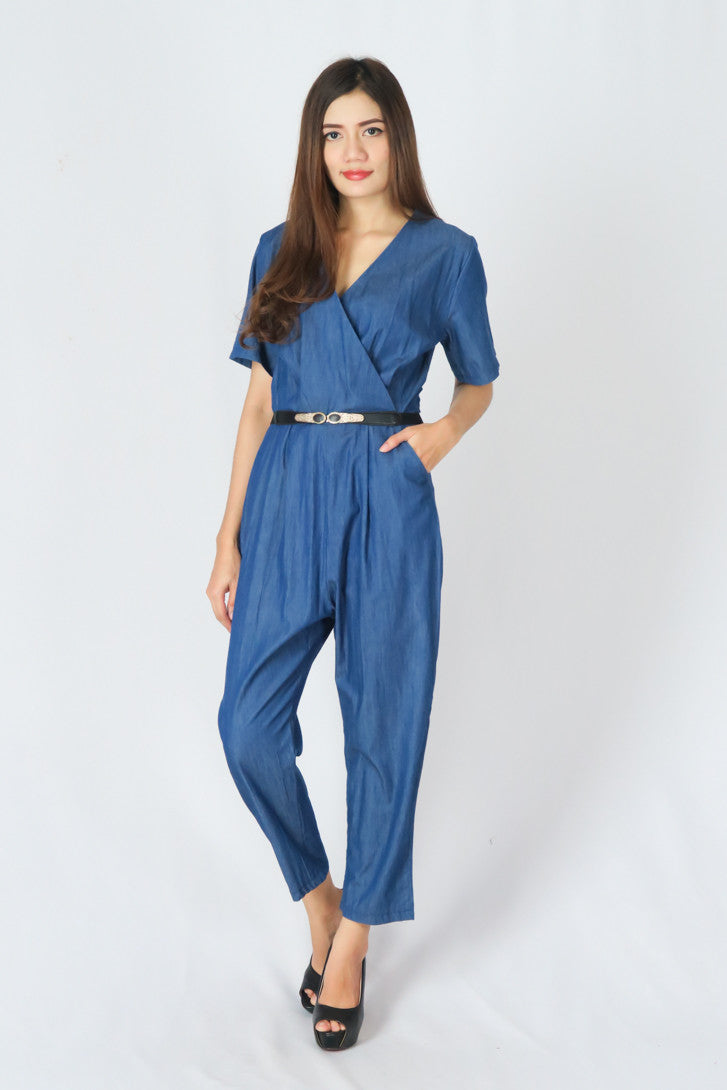 V-Neck Denim Jumpsuit