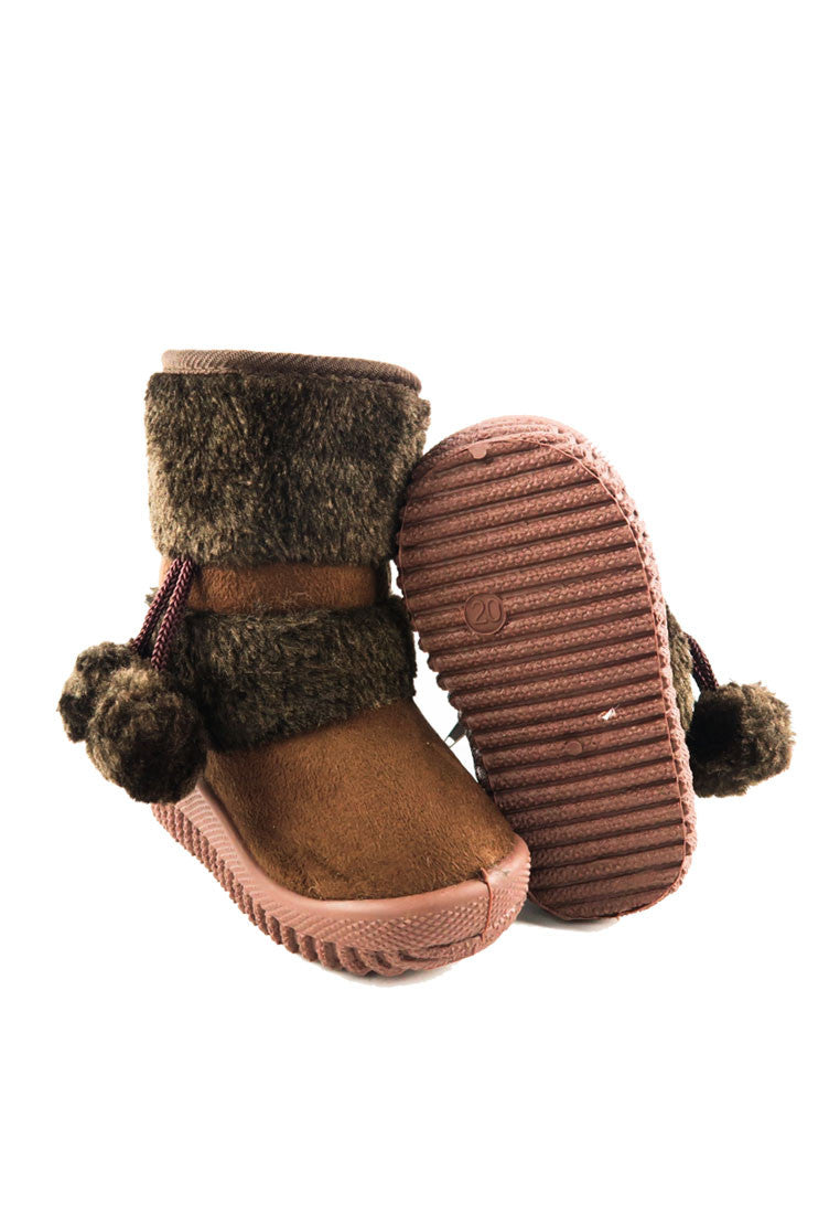 Kids Winter Snow Pom Pom Fleece Ankle Boot