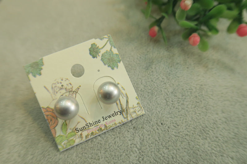 Round Stud White  Earrings