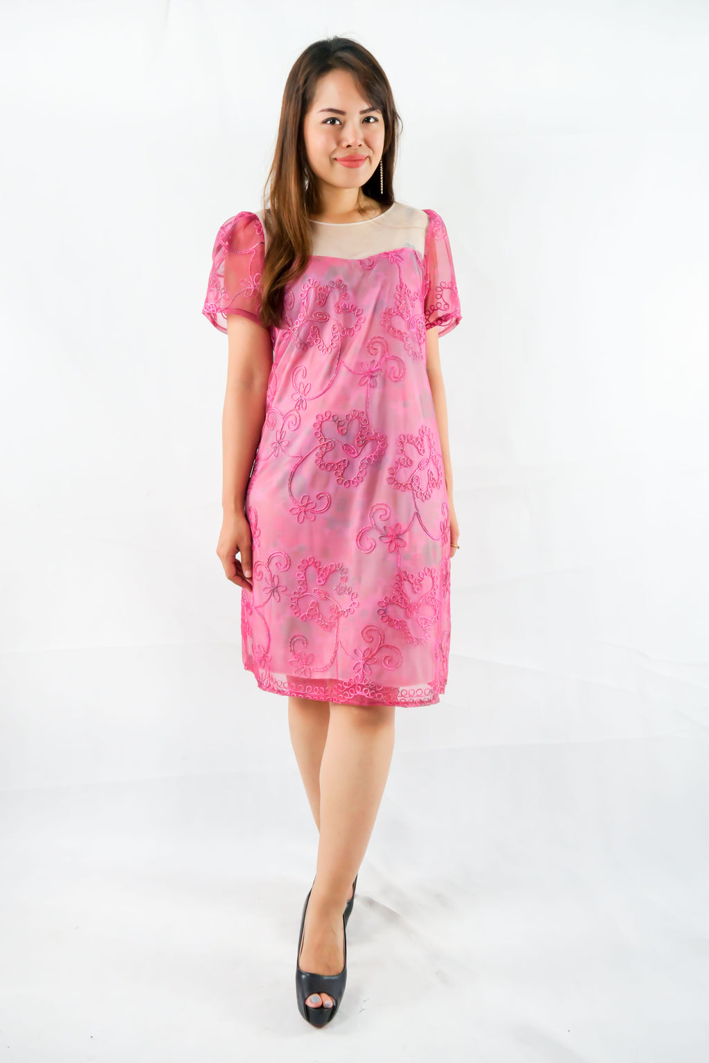 เดรสคอกลม - Dresses Women's Plus Size Mixed Floral Shift
