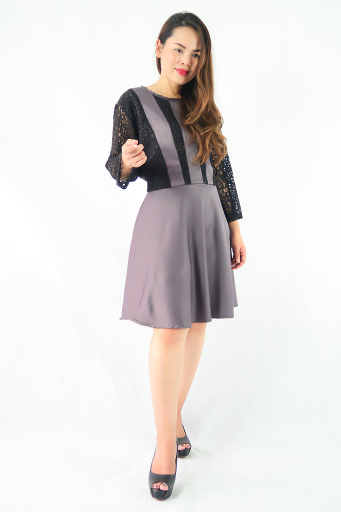 เดรสแฟชั่น - 3/4 Sleeve Black Lace Flare A-line Dress
