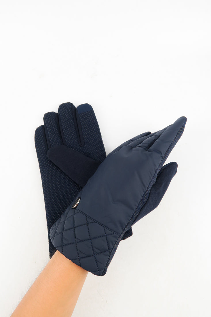 ถุงมือบุผ้ากันหนาว  - Smartouch Stretch Leather Glove with Partial Back Gather