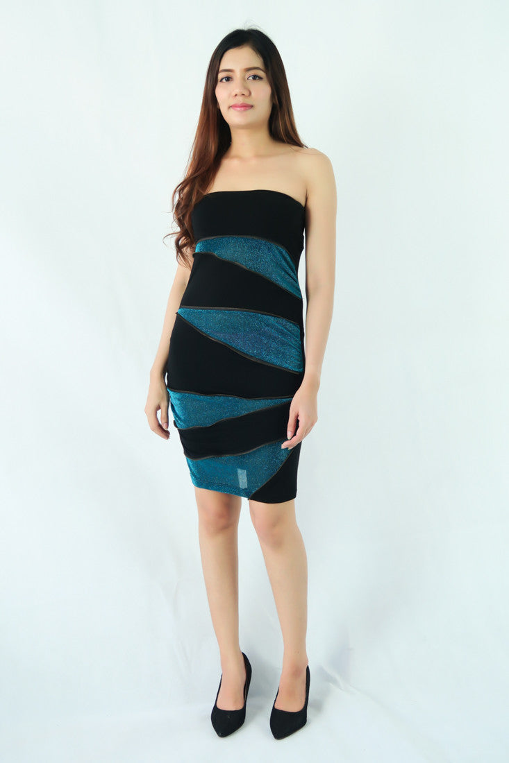 เดรสเกาะอก กำมะหยี - Strapless Clubwear Evening Party Bodycon Velvet Dress