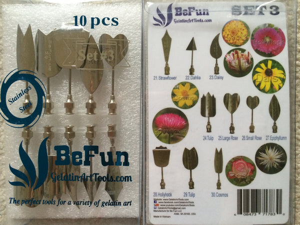 LOT A2 : BeFun™ # 3 , 8 & 9 Gelatin Art Tools Set with serial number & 2 syringes