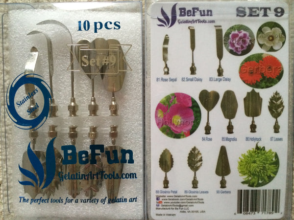 LOT A4 : BeFun™ # 8 ,9 & 11 Gelatin Art Tools Set with serial number & 2 syringes