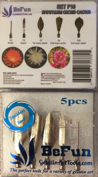 LOT L : Gelatin art tools # F6, F9, F10, F11 & F13 & 2 syringes (  Cherry Blossom-Carnation- Epiphyllum Cactus-Camel's Foot-Sunflower )
