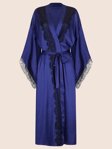 LAUREN SILK WITH LACE TRIM KIMONO - LONG