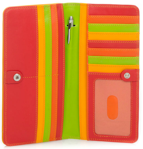 Large slim Nappa leather wallet jamaica is colorful, slim and spacious which holds cards, cash, coins, ID and includes a pen.