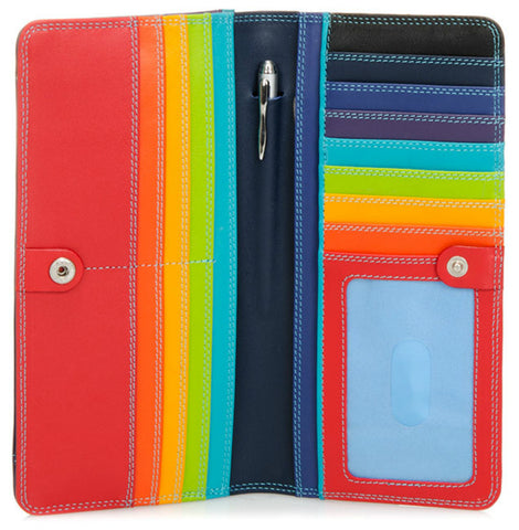Large slim Nappa leather wallet black pace is colorful, slim and spacious which holds cards, cash, coins, ID and includes a pen.