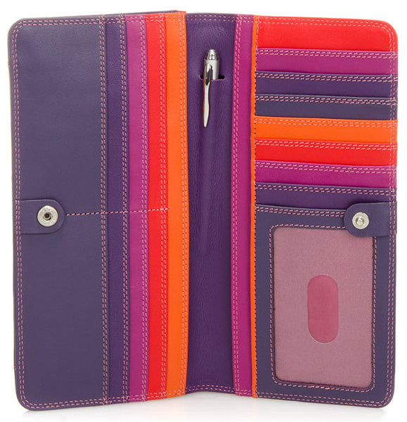 Large slim Nappa leather wallet sangria is colorful, slim and spacious which holds cards, cash, coins, ID and includes a pen.