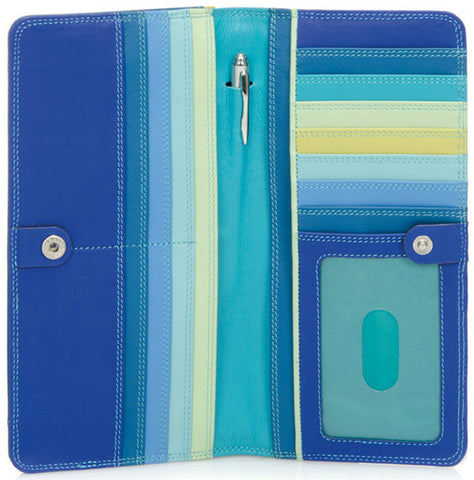 Large slim Nappa leather wallet seascape is colorful, slim and spacious which holds cards, cash, coins, ID and includes a pen.