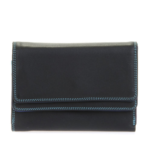 Double flap purse/wallet black pace is a colorful unique accessory with card and note section, id window, handy mini pen and a loose change pocket.