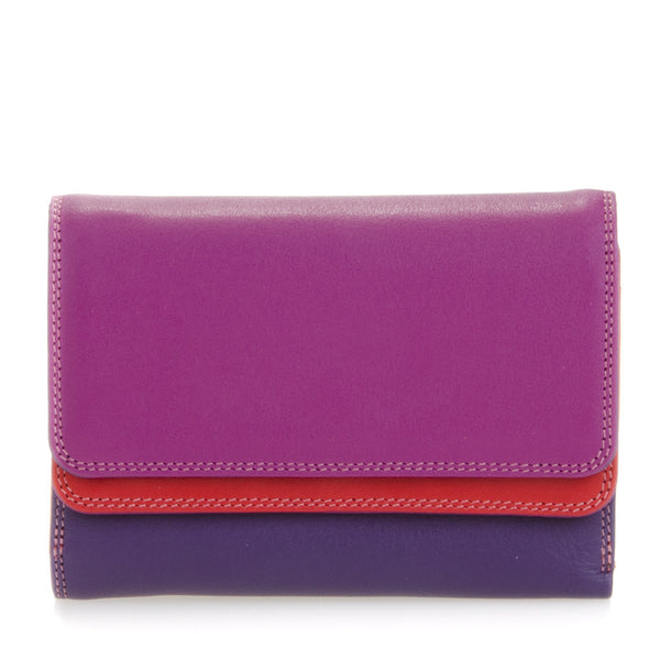 Double flap purse/wallet sangria is a colorful unique accessory with card and note section, id window, handy mini pen and a loose change pocket.
