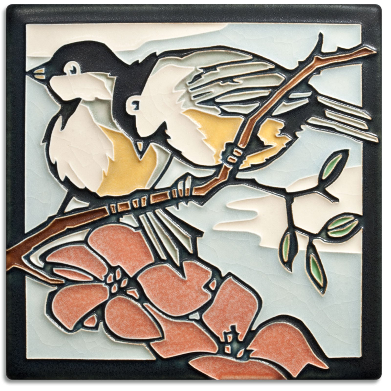 Motawi Tileworks Spring Chickadees tile 6 inches by 6 inches