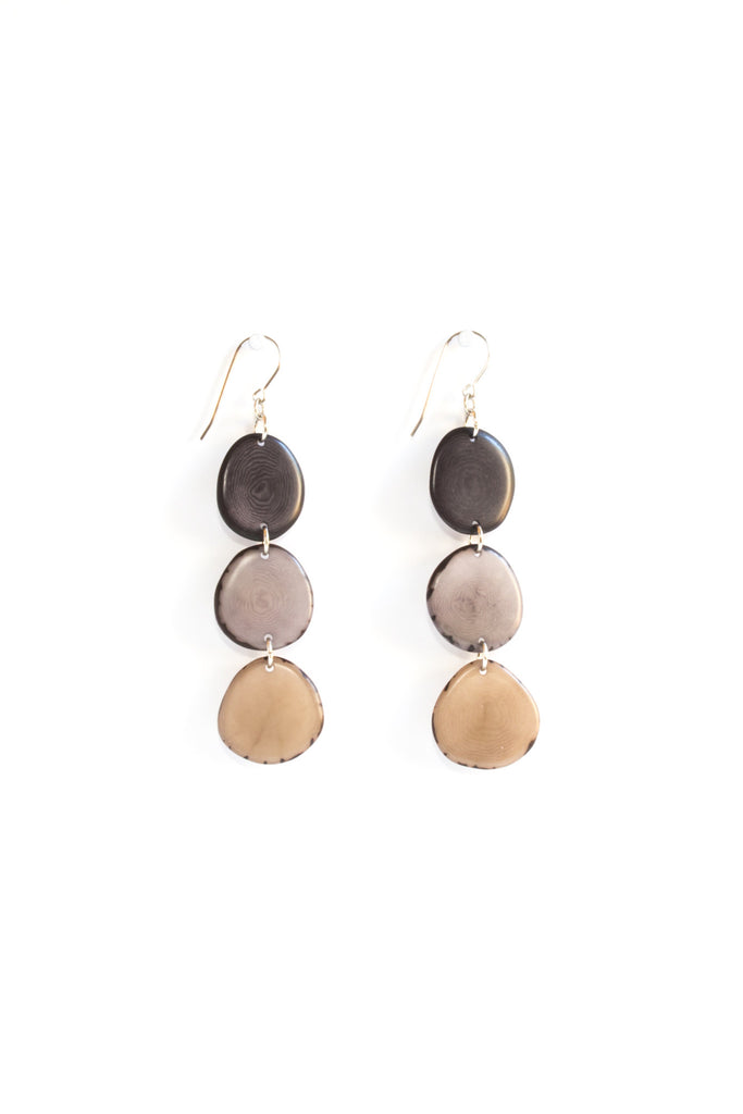 Aurora earrings river rock are sustainably made fair trade earrings made of polished tagua seed from South American rainforests.