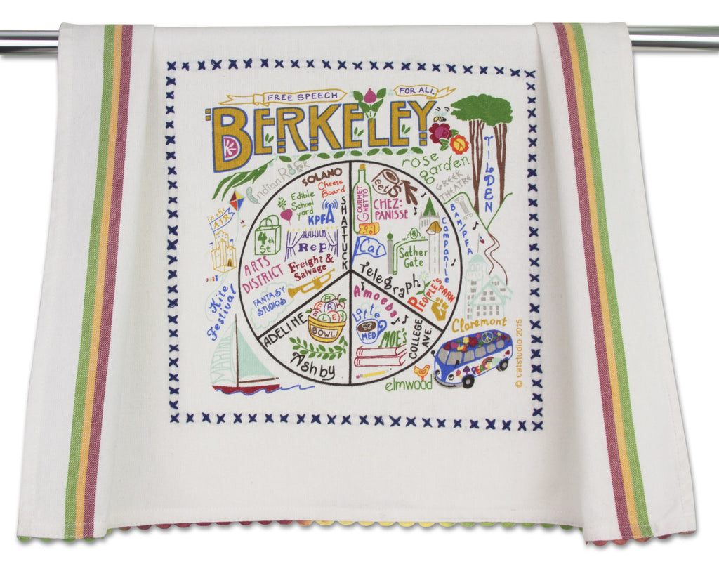 Berkeley Towel by Catstudio is an original designed silk-screened and hand embroidered 100% cotton dish towel/hand towel/guest towel/bar towel presented in an organdy re-usable pouch.