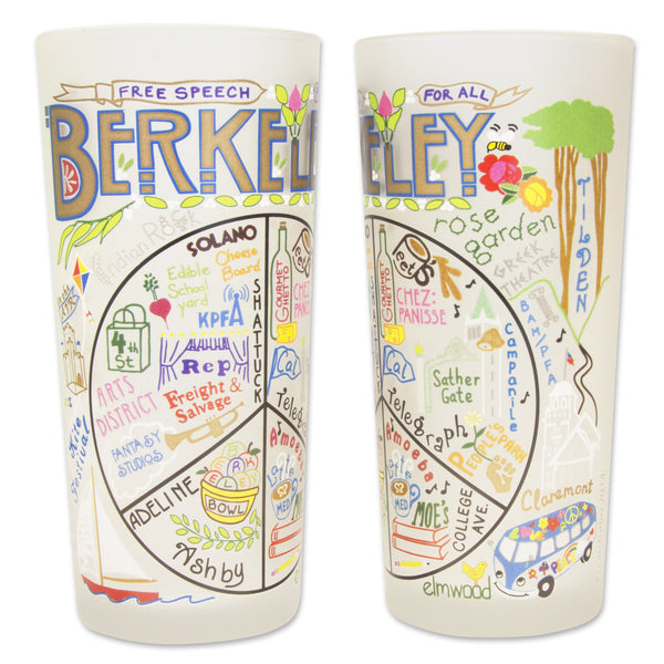 Berkeley Glass by Catstudio is an original designed high quality dishwasher-safe fifteen ounce tumbler rendered with vibrant colors that celebrates the city of Berkeley, California.