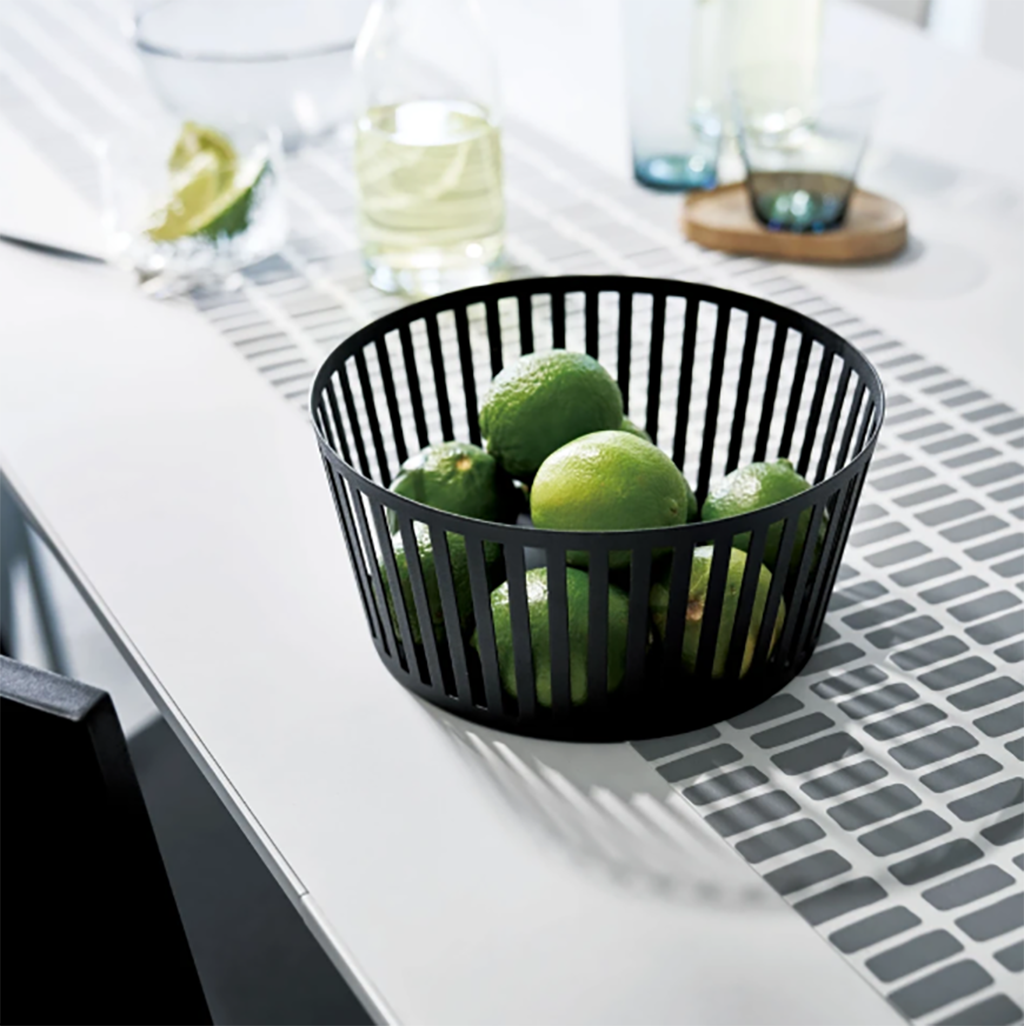 Yamazaki striped fruit basket with fruit on table black
