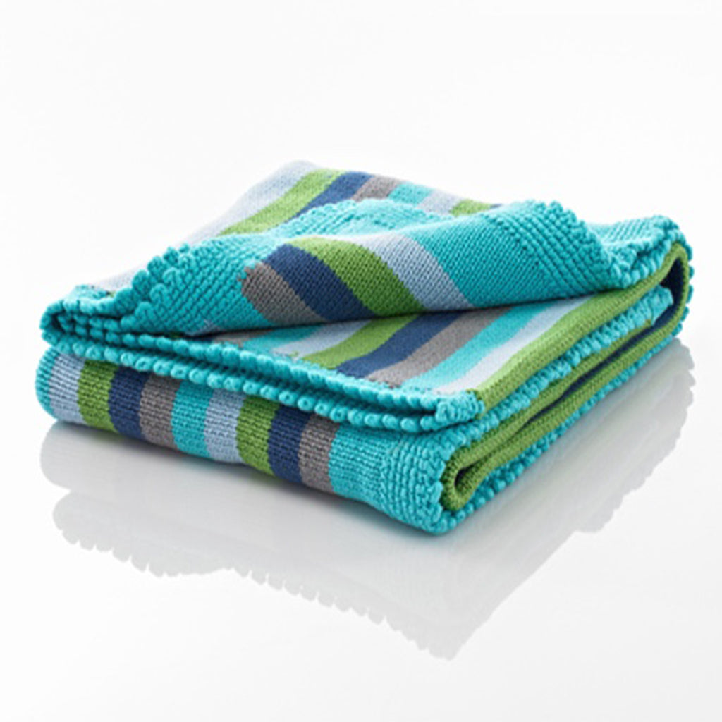 Pebble Blue Stripey Blanket by Pebble for Baby