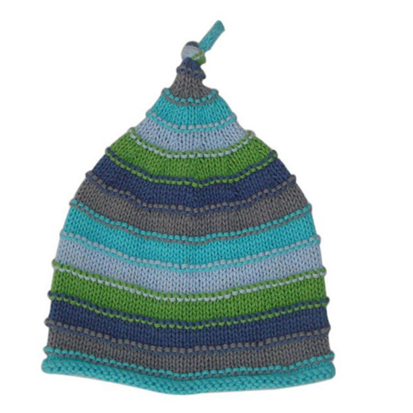 Pebble Blue Stripey Hat for Baby
