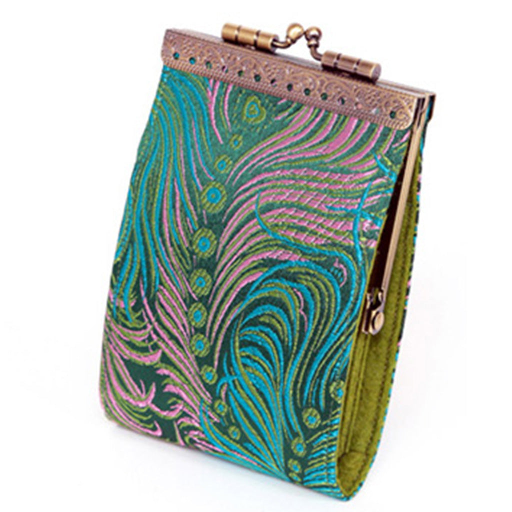 Cathayana green peacock RFID fabric card holder