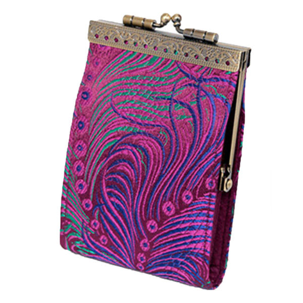 Cathayana fuchsia peacock RFID fabric card holder