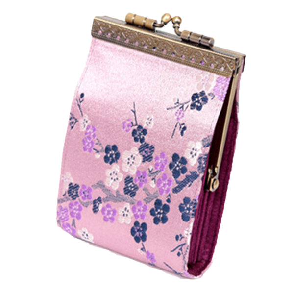 Cathayana pink cherry blossom RFID fabric card holder