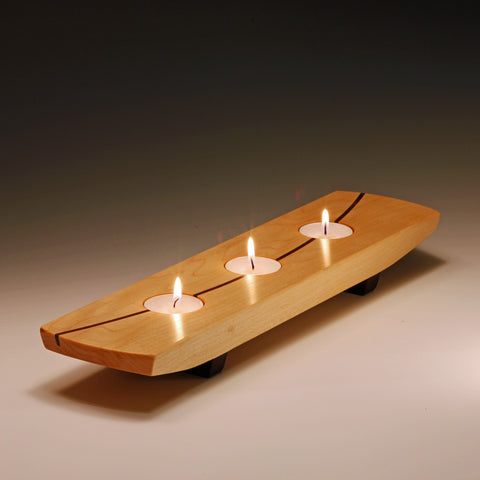 Tea light centerpiece by Thomas Work is an artisan handmade piece of art which holds 3 tea lights. Made in the U.S.A.