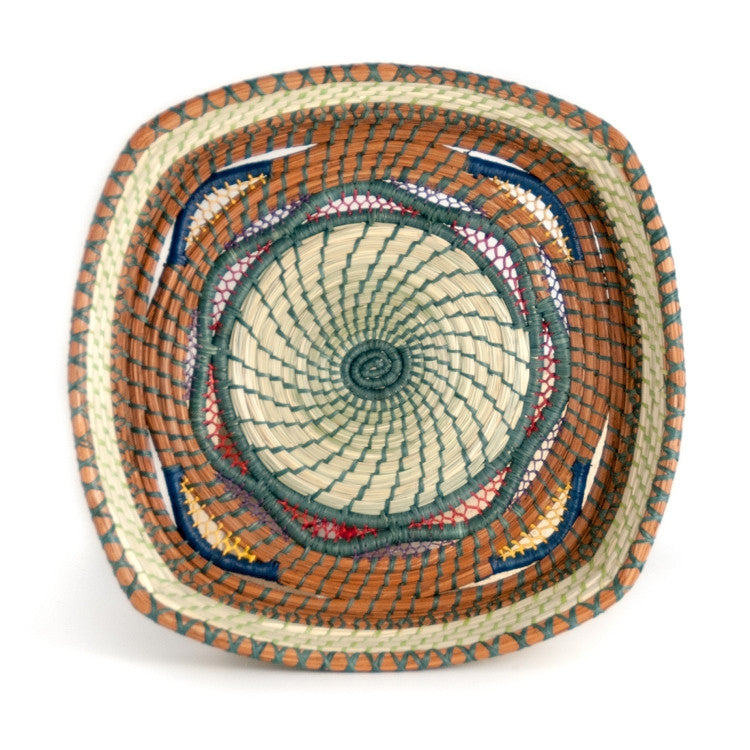 Dahlia basket is an intricately fair trade woven hand made basket made of designed by the women of Mayan Hands El Triunfo cooperative.