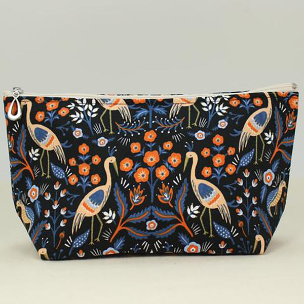 large cosmetic bag black crane by dana herbert