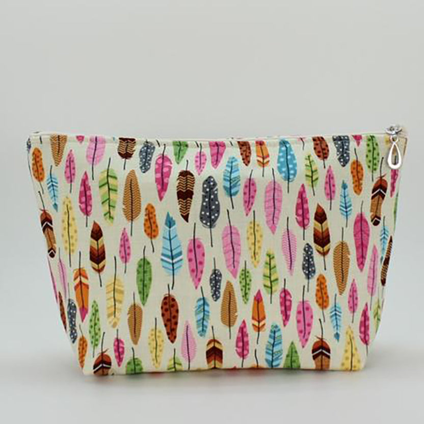 large cosmetic bag feathers by dana herbert