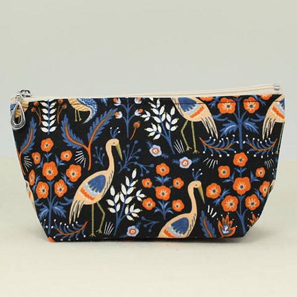 small cosmetic bag black crane by dana herbert